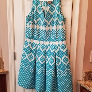 Taylor Aqua White Turquoise Pockets Dress Sz 14